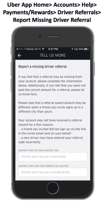 Retroactive Uber Referral Invite Code missed driver signup bonus