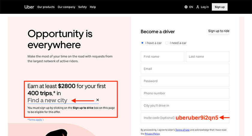 Uber Driver Bonus Promo Code